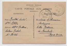 1939 - SECTEURS POSTAUX FICTIFS - CARTE FM  Avec CACHET N° 2065 (CHATEAU-THIERRY - AISNE) - Marcophilie (Lettres)