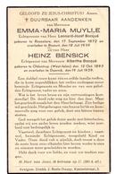 Devotie Doodsprentje Overlijden - Emma Maria Muylle & Heinz Bensick - Roeselare - Bossuit & Oldentrup - Doornik 1939 - Décès