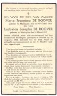 Devotie Doodsprentje Overlijden - Maria & Ludovica De Roover - Merksplas - Beerse 14 Aug 1938 - Décès