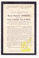 DP Maria Th. Janssens ° Vosselare Nevele 1824 † 1906 X Karel L. Van De Walle - Images Religieuses