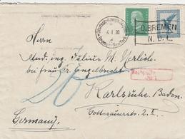 Allemagne Cachet Deutsch Amerik Seepost Bremen New York Sur Lettre Taxée 1930 - Briefe U. Dokumente