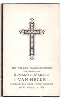 Devotie Doodsprentje Overlijden - Broers Armand & Maurice Van Hecke - St Eloois Vijve - Gent 1926 - Décès
