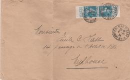 France Alsace Lettre Colmar 2 Gare Timbres Pub 1924 - Marcophilie (Lettres)