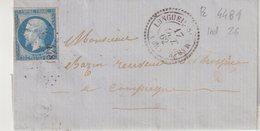 """FRANCE :N° 14 . PC 4481 . """" LONGUEIL-SAINTE MARIE """" . (58 ) . DATÉE DE """" CHEVRIERES """" . 1862 . - Marcophilie (Lettres)"""