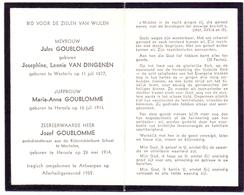 Devotie Doodsprentje - Josephine Van Dingenen - Maria Anna & Jozef  Goublomme - Mechelen - Ongeval Antwerpen 1959 - Décès
