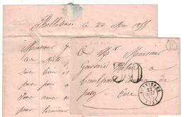 1855 - BOITE RURALE E De ROLLEBOISE Sur LETTRE LAC NON AFFRANCHIE CAD BONNIERESTAXE 30 DT Pr PACY EURE - Marcofilia (sobres)