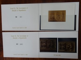 #C6# SHARJAH PERFORATED+IMPERF.+ S/S MNH** IN BOOKLETS, GOLD STAMP. SPACE. ASTRNAUT CHAFFEE. ONLY 1500 ISSUED. - Asie
