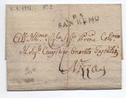 1816 - LETTRE Avec MP 85 SAN REMO (DEPARTEMENT CONQUIS) - 1792-1815: Conquered Departments