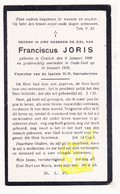 DP Franciscus Joris 17j. ° Kontich 1909 † Oude God Mortsel 1926 - Images Religieuses