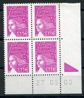 RC 12538 FRANCE MARIANNE DE LUQUET COIN DATÉ NEUF ** TB - France
