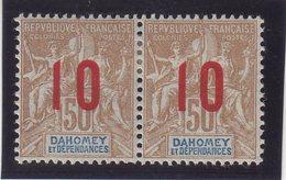 DAHOMEY : N° 40 A * . PAIRE .  1912 . CHIFFRES ESPACES . - Dahomey (1899-1944)