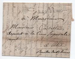 """MP 85 SAN REMO (DEPARTEMENT CONQUIS) Sur LETTRE Avec TEXTE INTÉRESSANT (""""EXILE (..) TRANSLATION DU TRIBUNAL DE MONACO"""") - 1792-1815: Conquered Departments"""