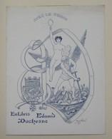 Ex-libris Illustré Français XXème - EDMOND DUCHESNE - Femme Nue, Vieillard... - Ex-libris