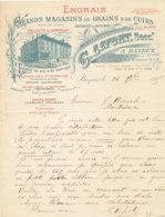 FA 1149 / FACTURE   ENGRAIS  MAGASINS DE GRAINS & DE CUIRS    G. LEFORT   BAYEUX   (14)   1915 - Agriculture
