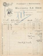 FA 1151 / FACTURE   FABRIQUE DE BONNETERIE  RAYMOND LE BER  CAEN  (14)   1934 - Textile & Clothing