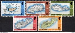 Alderney - 1989 - Yvert N° 37 à 41 **  - Cartes De L'Ile - Alderney