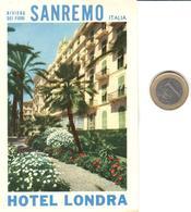 ETIQUETA DE HOTEL  - HOTEL LONDRA  -SANREMO  -ITALIA - Hotel Labels