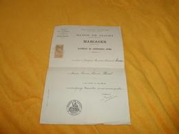 CERTIFICAT DE CELEBRATION CIVILE..MARIAGES..ANNEE 1934..MAIRIE DE CLICHY..CACHET + TIMBRE DE DIMENSION.. - Vieux Papiers