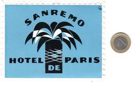ETIQUETA DE HOTEL  - HOTEL PARIS  -SANREMO  -ITALIA - Hotel Labels