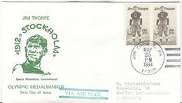 USA JIM Thorpe Winner Decathlon 1912 First Day Cancel Jim Thorpe MAY 25 1984 Postoffice Cancel On The Back - Sommer 1912: Stockholm