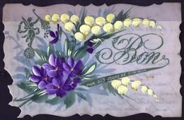 *CPA Découpée Rigide - Bon Pour 365 Jours De Bonheur - Violettes Et Muguet - Holidays & Celebrations