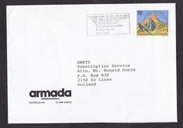 Liechtenstein: Cover To Netherlands, 1991, 1 Stamp, Mountain, Cancel EMS International Courier Service (traces Of Use) - Liechtenstein