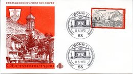 """BRD Schmuck-FDC """"Oberammergau"""", Mi. 622 ESSt 11.5.1970 BONN 1 - [7] Repubblica Federale"""