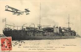 Themes Div-ref BB366- Aviation -marine Militaire -bateau La Foudre Et Son Hangar Pour Abriter L Hydroplane Canard Voisin - Aerodrome