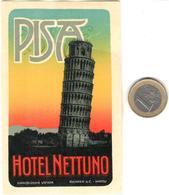 ETIQUETA DE HOTEL  - HOTEL NEPTUNO -PISA -ITALIA - Hotel Labels