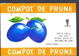 78496- PLUM COMPOTE, LABELS, 1977, ROMANIA - Fruit En Groenten
