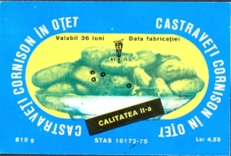 78497- PICKLED CUCUMBERS IN VINEGAR, LABELS, 1975, ROMANIA - Fruit En Groenten