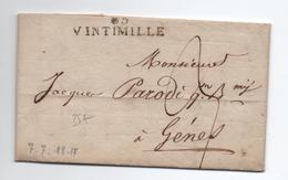 1817 - LETTRE Avec MP 85 VINTIMILLE (DEPARTEMENT CONQUIS) - 1792-1815: Conquered Departments