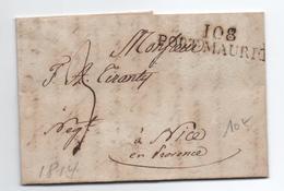 1814 - LETTRE Avec MP 108 PORT MAURICE (DEPARTEMENT CONQUIS) - 1792-1815: Conquered Departments