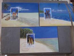 3 Cartes  Premier Jour - JOURNEE MONDIALE DU TOURISME - LE PAREO - PAPEETE  27 Septembre 1990 - Illustrateur : E. LUQUET - Tahiti