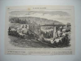 GRAVURE 1869. SUISSE. NOUVELLE LIGNE FERROVIAIRE DESTINEE A RELIER LA SUISSE A LA France PAR JOUQUES ET PONTARLIER. - Prints & Engravings