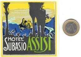 ETIQUETA DE HOTEL  - HOTEL SUBASIO  -ASSISI  -ITALIA - Hotel Labels