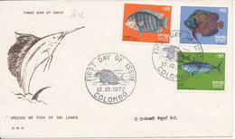 Sri Lanka FDC 12-10-1972 Fish Set Of 3 With Cachet - Sri Lanka (Ceylon) (1948-...)