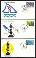 FDC 3 Lettres Premier Jour Koné , Wé  Et Nouméa Le 17/06/1991 Les N°611 à 613 Les 3 Provinces Cartes Et Emblèmes     TB - Cartas