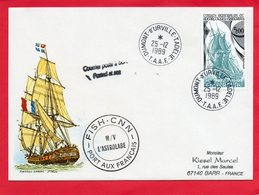 Pli De Terre Adélie  Avec Cachet FISH - CNN M/V  L'ASTROLABE ) - Stamps