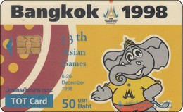 Thailand Phonecard TOT Nr. 001    Asien Games Elephant - Thailand