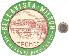 ETIQUETA DE HOTEL  -BELLAVISTA MILTON  -ROMA  -ITALIA - Hotel Labels
