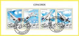 Bloc Oblitéré De 4 Timbres-poste - Concorde De La British Airways Concorde D'Air France - République De Djibouti 2018 - Dschibuti (1977-...)