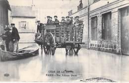 PARIS 16 ° - INONDATIONS ( Crue ) 1910 - Rue Félicien David ( Bon 1er Plan Attelage SOCIETE DU GAZ Avec Sinistrés - CPA - Inondations De 1910