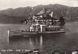 ISOLA SAN GIULIO-NOVARA-LAGO MAG-IMBARCADERO MOTONAVE=SAN GIULIO=CARTOLINA VERA FOTOGRAFIA- NON VIAGGIATA-ANNO 1955-1960 - Novara