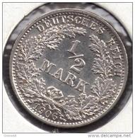 DEUTSCHES REICH 1/2 MARK 1906 A ARGENT SILVER KM# 17 Wilhelm II - [ 2] 1871-1918 : Empire Allemand