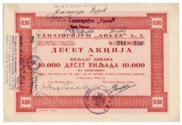 YUGOSLAVIA, SERBIA, BELGRADE, SANATORIJUM AVALA, SHARE CERTIFICATE 10.000 DINARA, 1943, WW2 - Shareholdings