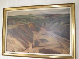 HOSLET Huile Sur Toile - Sablière Paysage De Campagne-peinture Signée 79x119cm - Huiles