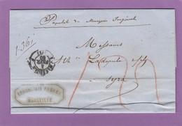 LETTRE DE MARSEILLE PAR PAQUEBOT DES MESSAGERIES IMPERIALES POUR SYRA,GRECE,TAXEE A 122,CACHET D'ARIVEE,1860. - Poststempel (Briefe)