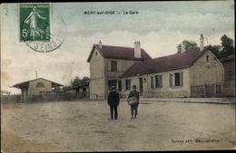 Cp Méry Val-d'Oise, La Gare, Bahnhof - Frankreich