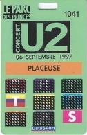 Carte De Concert De U2 Le 6 Septembre 1997 Au Parc Des Princes - Concert Tickets